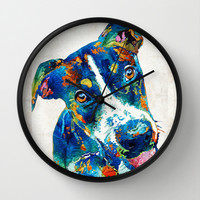 Colorful Dog Art - Happy Go Lucky - By Sharon Cummings Wall Clock by Sharon Cummings