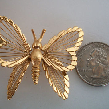 Vintage Monet Butterfly  Pin Brooch Gold Tone