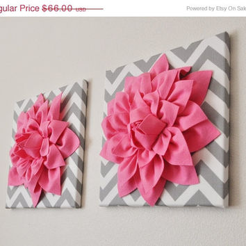 "MOTHERS DAY SALE Two Pink Wall Decor - Bright Pink Dahlia on Gray and White Chevron 12 x12"" Canvas, Wall Art, Baby Nursery, Wall Decor"