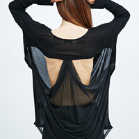 Light Before Dark Mesh Drape Back Tunic in Black - Urban Outfitters