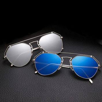 ESBU3C 2017 New Cat Eye Aviator Sunglasses Women Vintage Fashion Metal Frame Mirror Sun Glasses Unique Flat Ladies Sunglasses UV400