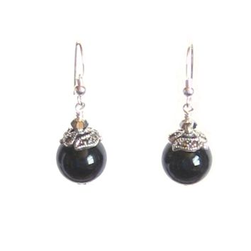 Black Murano Ball Marcasite Sterling Silver Earrings