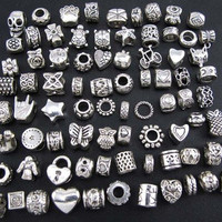 "WM KING Antique Silver Plated Oxidized Metal Beads Charms Set Mix Lot - Compatible with Pandora Biagi Troll Chamilia Bracelets w/ ""BM"" Pouch (80Pcs)"