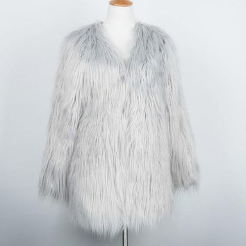 Faux Fur Mohair Trendy Winter Coat