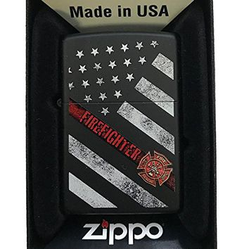 Zippo Custom Lighter - Red Line Firefighter USA Flag & Support - Black Matte