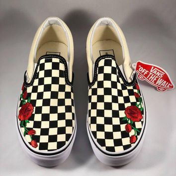 Vans Popular Women Men Casual Checkerboard Slip-On Red Rose Embroidery Flat Sport Shoe Sneaker I