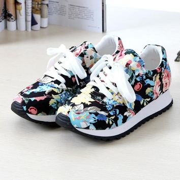 Breathable cozy print women casual shoes 2016 new fashion wedges canvas shoes