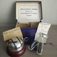 Antique Rose Automatic Grinder, Knife sharpeners, grinders no 3 and no 7, 1904 household cutlery sharpener, original box