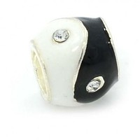 Black And White Enamel Ying Yang Charm Bead