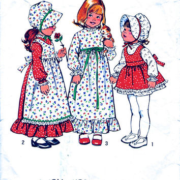 Holly Hobbie Dress And Apron In 2 Lengths & Bonnet - Toddler's Prairie Dress - Vintage 70's Sewing Pattern - Simplicity 6635 - Chest 21""