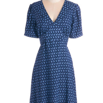 ModCloth 40s Long Short Sleeves A-line Saturday Best Dress in Navy Deer