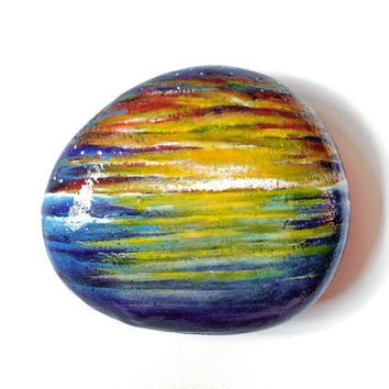 Painted Rock Stone Paperweight with sunset tropical ocean and night star sky.