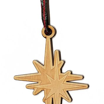 North Star Laser Engraved Wooden Christmas Tree Ornament Gift Seasonal Decoration