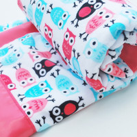 Owl blanket - Luxury Minky Baby Blanket in Coral and Teal Made to Order