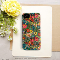 Flower iPhone 4 case - flower iPhone 5 case, floral iPhone 5 case, floral iphone 4 case, for women, vintage flower, illustration, art (c164)