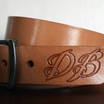 "1 1/2"" Natural Leather Custom Name Belt, Personalized With Anything"