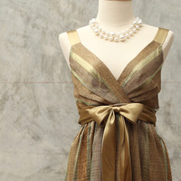 Olive, stripe Cocktail dress(size M).