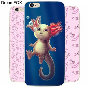 K010 Adorable Axolotls Transparent Hard Thin Case Cover For Apple iPhone 7 6 6S Plus 5 5S SE 5C 4 4S