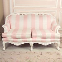 SOLD Shabby Sweet Pink and White Striped Loveseat Couch - $1395 - The Bella Cottage