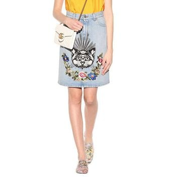 """Gucci"" Women Casual Fashion All-match Cat Flowers Embroidery High Waist Show Thin Denim Middle Skirt"
