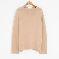 Lip Neck Wool Jumper, Beige