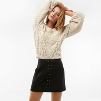 Lace-Up Patch Pocket Mini Skirt