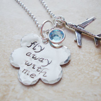 Come fly with me handstamped cloud necklace with by Lolasjewels