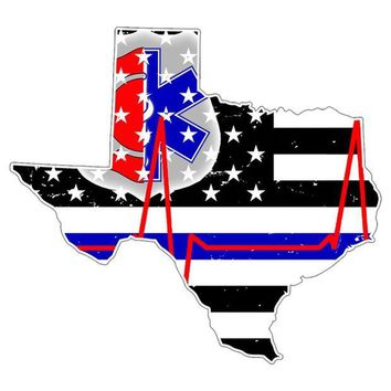 DCCKU3R Texas First Responder Thin Blue Line Flag Decal Sticker