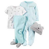 Carter's Boys 4 Piece Light Blue Striped Footie, Footed Pant with 3D Detail, White Printed Top and 3D Puppy Hat Set