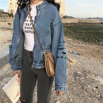 Women Casual Fashion Letter Embroidery Ripped Long Sleeve Zip Cardigan Denim Jacket Coat