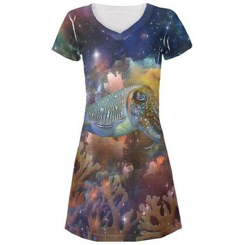 LMFCY8 Cuttlefish In Space All Over Juniors Beach Cover-Up Dress