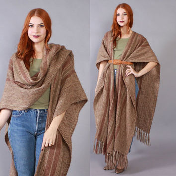 Vintage 80s Poncho CAPE / 1980s Neutral Stripe Extra Long Knit Wrap Shawl Fringe Cape