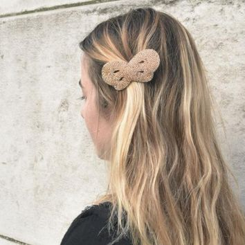 Champagne Gold Straw Beads Hair Pin