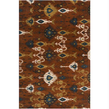 Accent Throw Rug - Peanut Butter Brown, Cumin Yellow, Papyrus Cream, Teal Blue, Tea Leaves Green