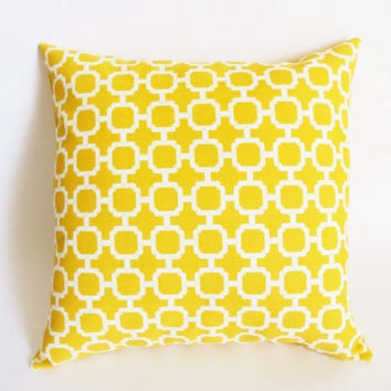 Yellow Decorative Pillow Cover fits on 18x18 Inch insert Yellow Lattice Pillow Yellow Indoor Outdoor Pillow