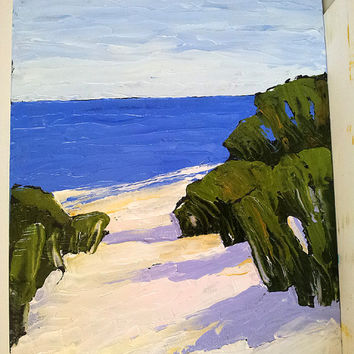 Impressionist Painting California Plein Air MONTEREY BAY Pacific Ocean Sand Dunes Beach Seascape Landscape 11x14 Lynne French FREE Shipping