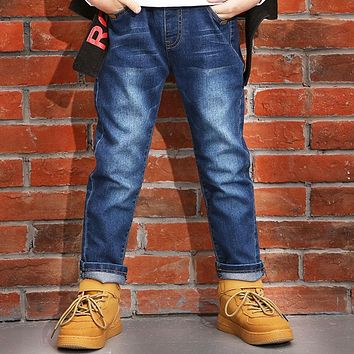 Teenage Baby Boys Denim Jeans New Design 2018 Spring Tassels Pockets Mid Elastic Waist Trousers Casual Kids Denim Pants Clothes