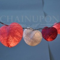 LOVE PINK HEART COTTON STRING PARTY,PATIO,DECOR,BEDROOM,HOME IDEA,WEDDING LIGHTS