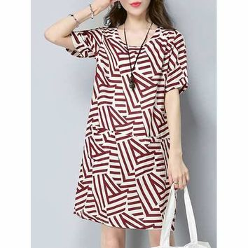 Casual Women Striped Short Sleeve Dress With Pockets