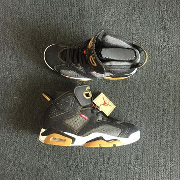 Levi's x Air Jordan 6 Black Jeans Men Basketball Shoes Sneaker