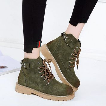 Rivets Round Toe Lace Up Low Chunky Heel Ankle Martin Boots