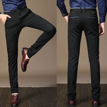 VANCHYCE 2017 New Men's Fashion Business Trousers Solid Color Smart Casual Pants Straight Dress Men Elastic skinny Pants 818