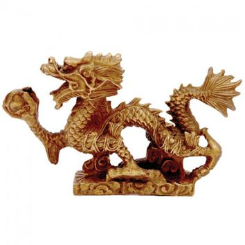 Brass Chinese Abundance Dragon Statue