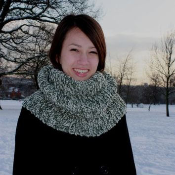 Hand Knitted Cowl, Snood, Chunky Winter Cowl, Mens Cowl, Womens Cowl, Green Mix