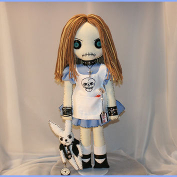 OOAK Alice in Wonderland Inspired Hand Stitched Rag Doll Creepy Gothic Folk Art by Jodi Cain