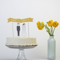 Cake Topper Set Custom Cake Banner No 1 / Bride and/or by ReadyGo