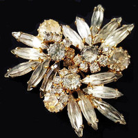 "Juliana D&E Verified Brooch Clear Smoky Slim Navette Rhinestones 2"" Vintage Wedding"