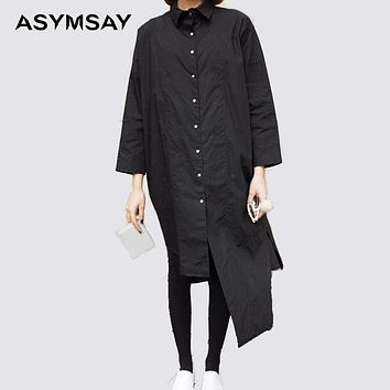 womens white shirts black long back high low long shirt women casual cotton linen blouse ladies korean style blouse