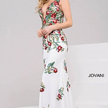 Off white multi floral embroidery fitted long backless prom dress.