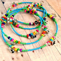 daisy rainbow colorful long beaded necklace convertible bracelet